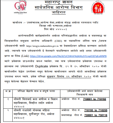 Akola Health Department CHO Exam Hall Ticket